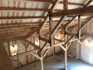post and beam barn attic looking down